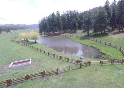 Double post and rail fence